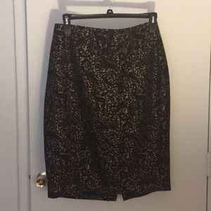 Lace black and nude high wasted midi pencil skirt